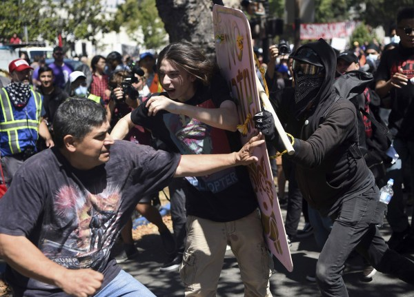 Photo of street confrontation in Berkeley, California, on August 27, 2017.