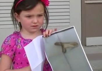 It's a stick, not a gun, and she's five.
