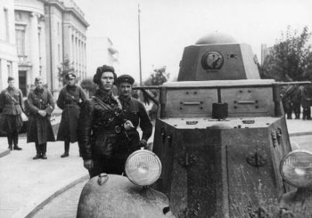 WII photo of tank and driver likely in Poland.