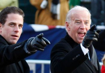 Joe and Hunter Biden blacked gloved and pointing
