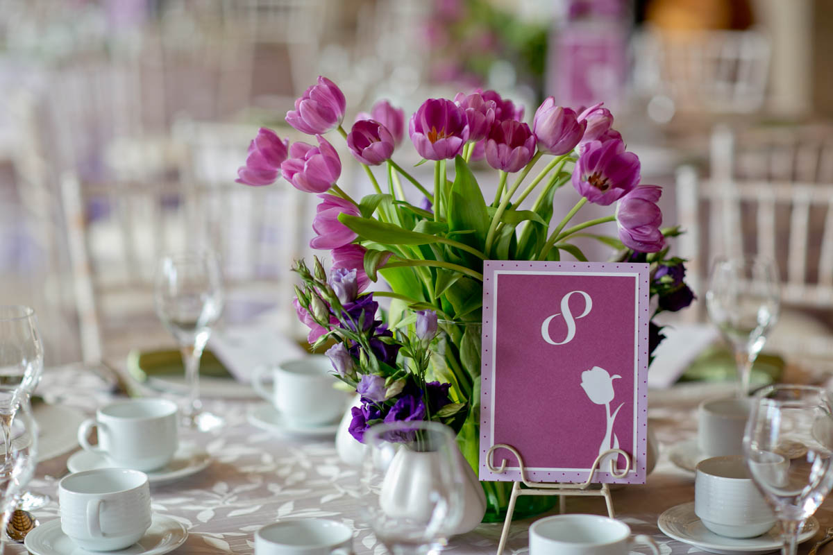 Custom Tulip Themed Wedding Table Number by Platypus