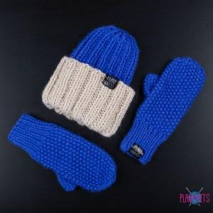 Бежево-синий вязаный комплект из кашемира Симпл
