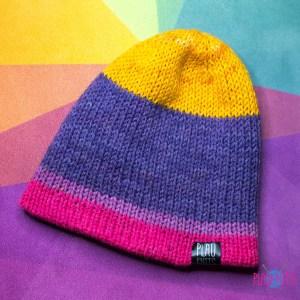 Разноцветная двусторонняя вязаная шапка Радуга 1