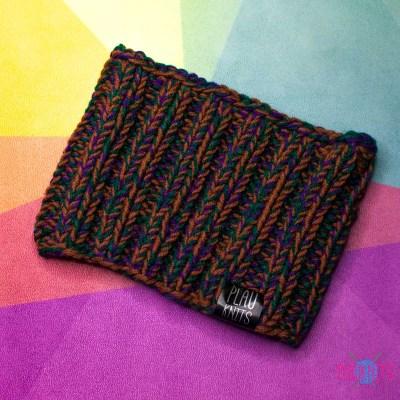 Дредошапка 15 см / Коричнево-фиолетовая вязаная шапка / повязка для дред