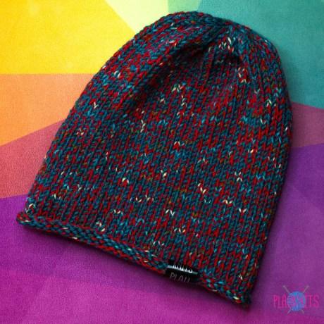Красно-изумрудная свободная вязаная шапка Мешок
