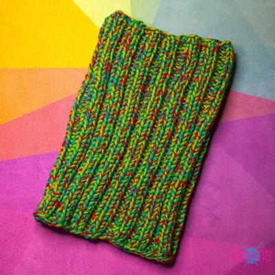 Зелёно-оранжевая вязаная повязка для дред