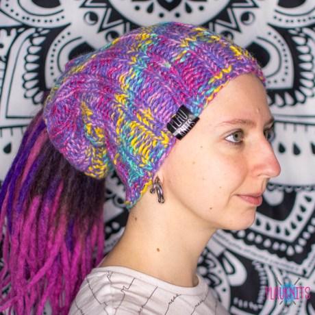 Розово-разноцветная повязка / шапка  для дред 27 см