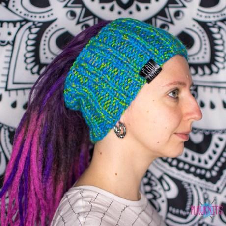 Сине-зелёная вязаная повязка / шапка для дред литл 13 см