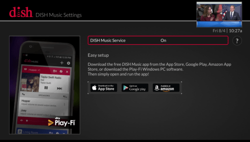 small resolution of just use your remote to go to the menu select settings and then dish music you ll see the screen below