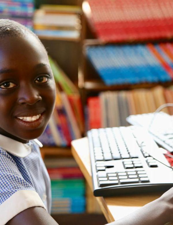 Zambian Girl Learning with Computer