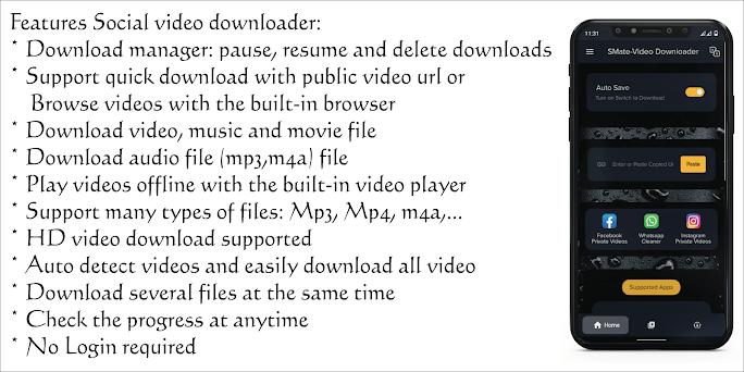 SMate-Social Video Downloader Capturas de pantalla