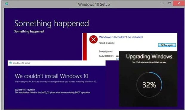 windows 10 upgrade fails