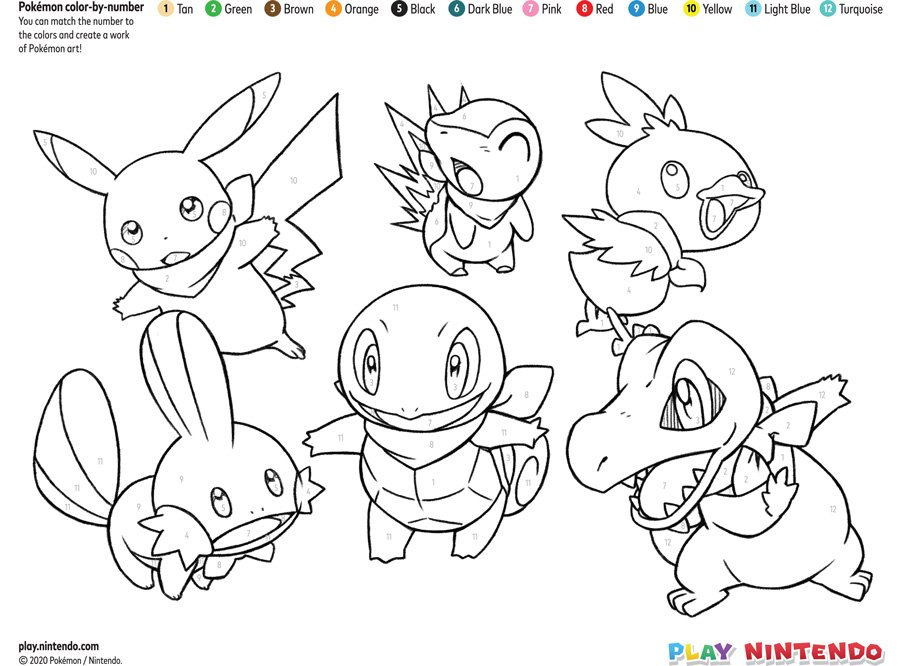 Pokemon Color By Number Printable Coloring Page Play Nintendo