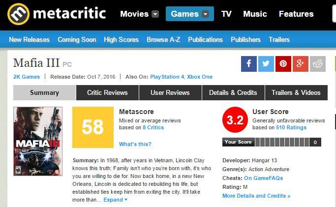 Metacritic Mafia III