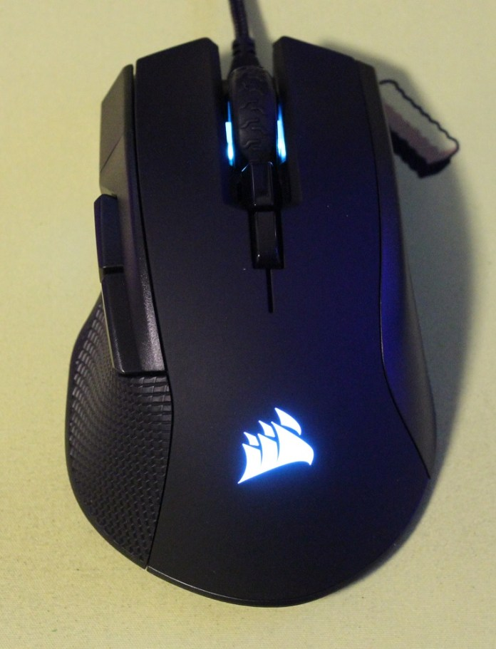 Corsair Ironclaw RGB mouse powered on