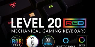 Thermaltake Gaming Level 20 RGB Razer Green Gaming Keyboard Header