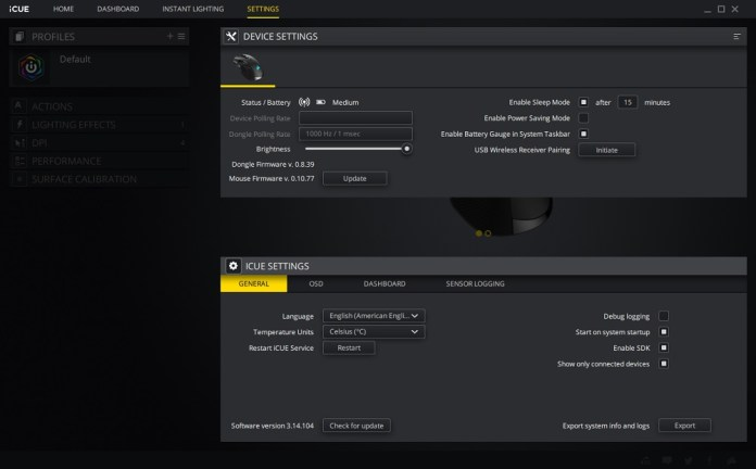icue software settings