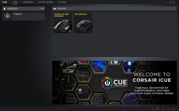 Icue M55 main screen