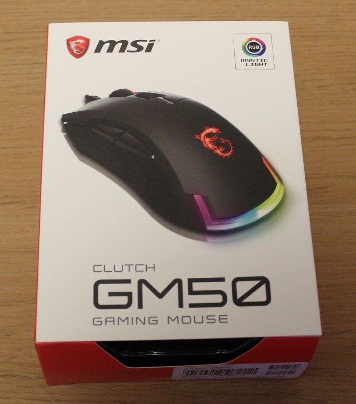 MSI Clutch GM50 Gaming Mouse box top