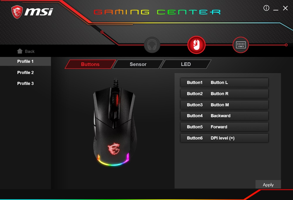 MSI Gaming Center GM50 profiles and buttons