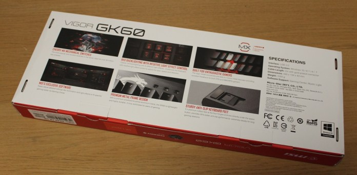MSI Vigor GK60 Keyboard Box bottom