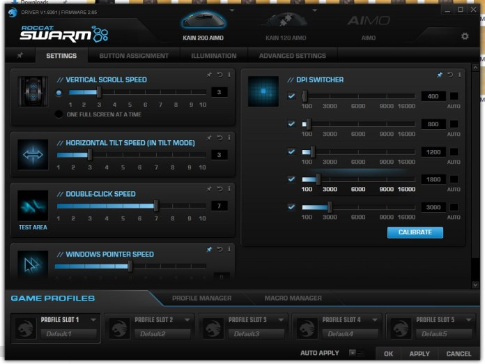 Roccat Swarm Aimo 200 settings