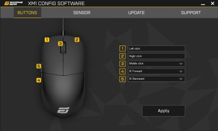 XM1 Config Software main screen