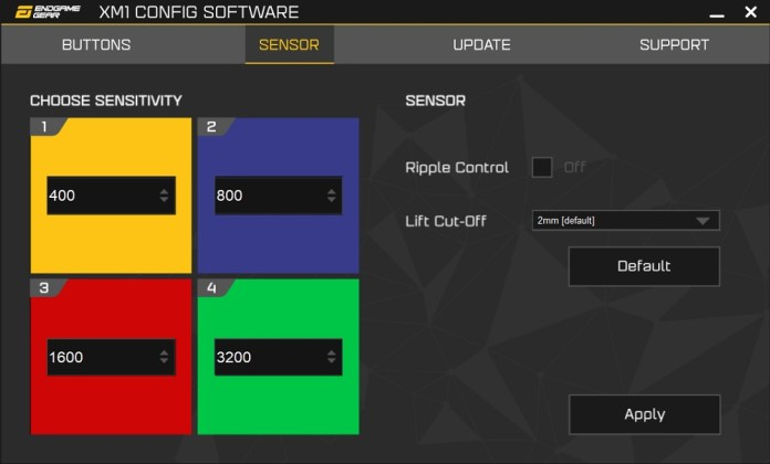 XM1 Config Software sensor
