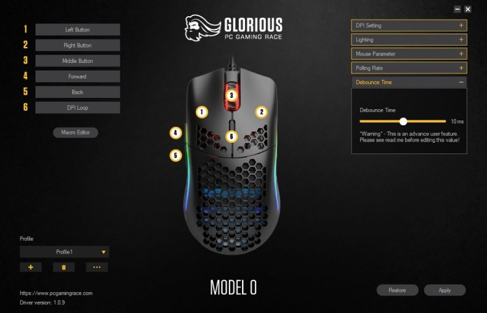 glorious pc gaming mouse model 0 sofware debounce time