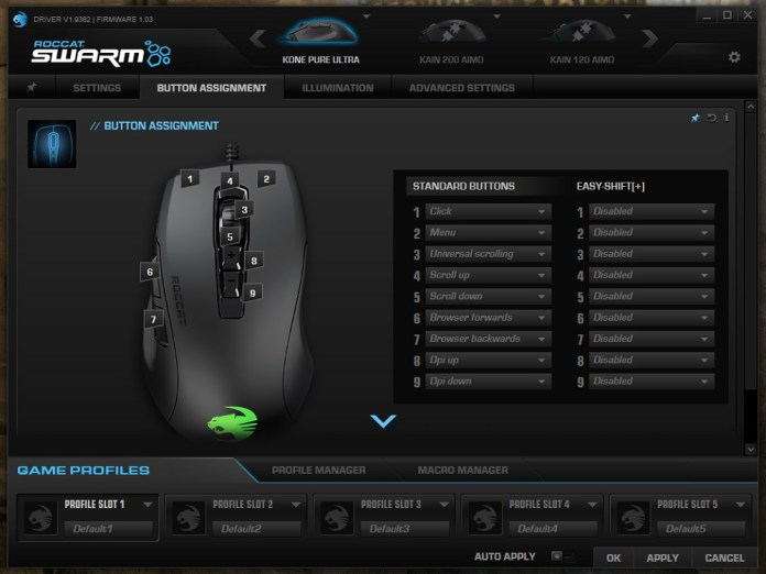 Roccat Kone Pure Ultra Swarm button assignment