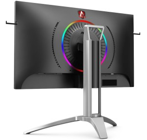 A back left view showing the RGB ring, which circles the mount point for the stand.