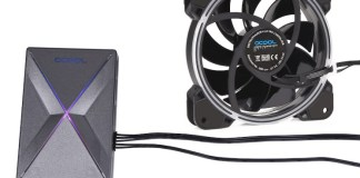 an alphacool eis-matrix ii argb controller with an eiszyklon aurora lux pro ii 120mm fan