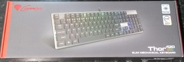 Front of the Genesis Thor 420 RGB box, with a picture of the keyboard.