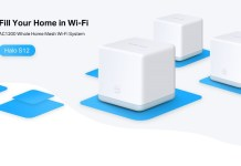 "Mercusys Halo S12, with text saying ""fill your home in wifi2 and ""ac1200 whole home mesh wi-fi system"""