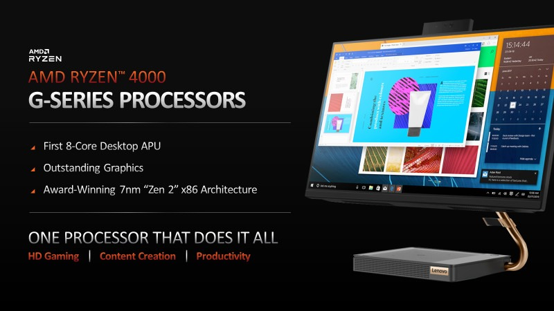 The slide proclaims 'first 8-core desktop APU', 'outstanding graphics' and 'award-winning 7nm zen 2 x86 architecture.