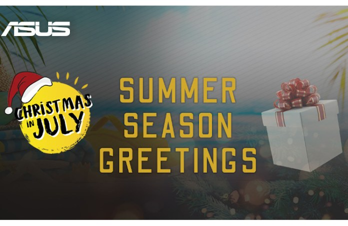 asus christmas in july sales event banner for 2020, wishing a summer seasons greetings