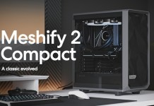 "image of a fractal design meshify 2 compact on a desk with text reading ""Mesify 2 Compact, A classic evolved"""