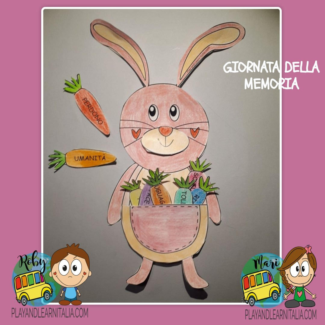 Giornata della memoria-coniglietto rosa-scuola primaria@playandlearnitalia