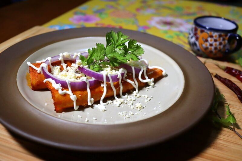 Authentic gluten-free enchiladas with chile guajillo sauce