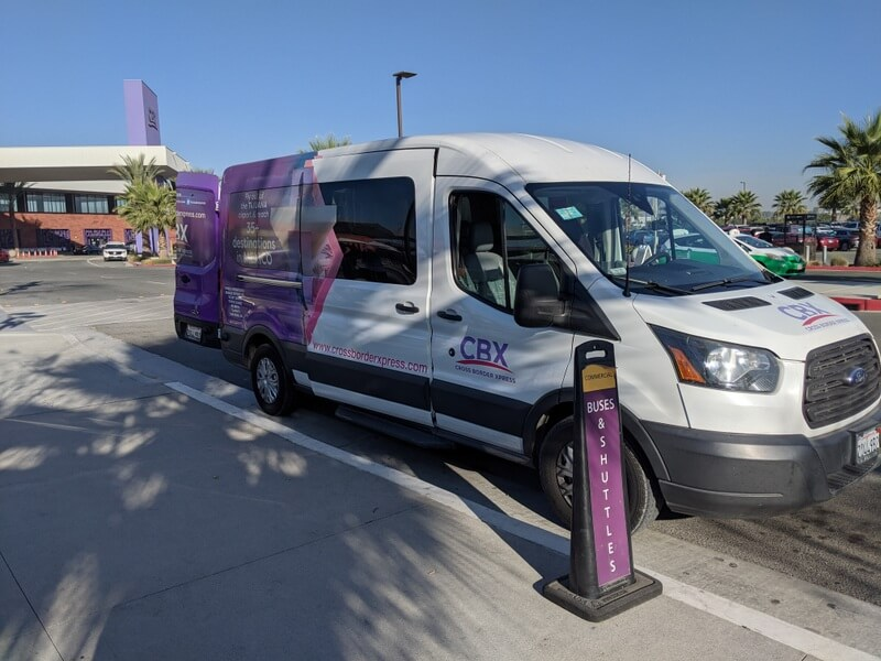 Cross Border Xpress shuttle meets in front of the terminal