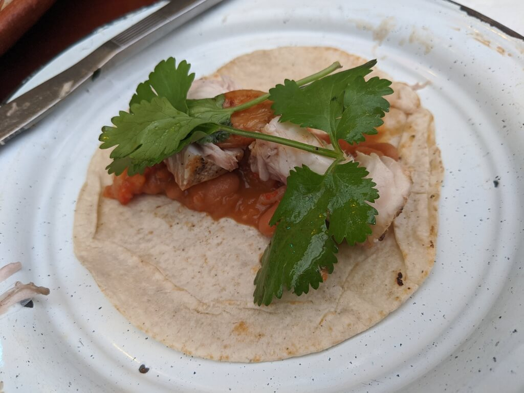 fish tacos with beans and cilantro