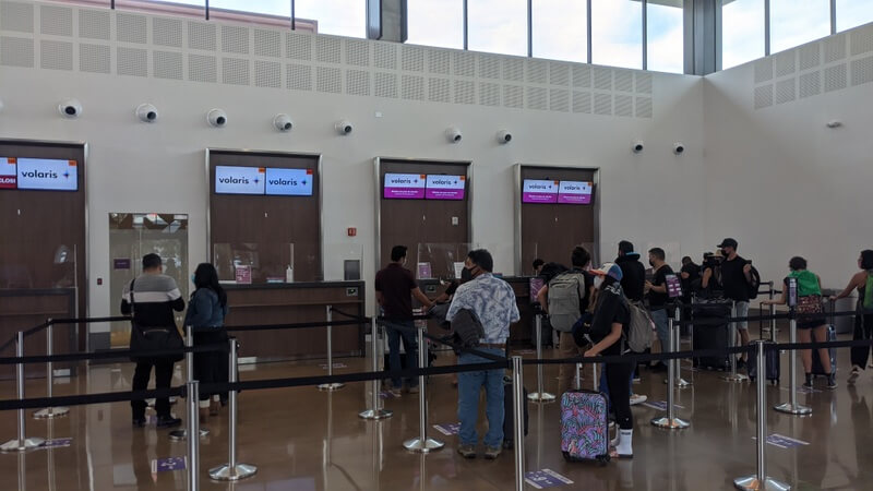 Checking into a flight at the Tijuana airport on the US side of the CBX