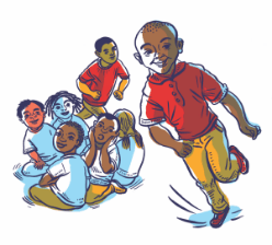 Illustration shows young boy running and playing among a group of friends