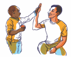 Illustration shows a Play At The Core volunteer high fiving a child
