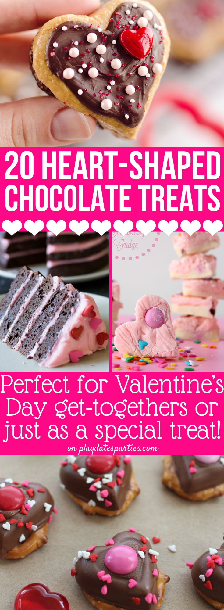 These 20 heart shaped chocolates treats are just the CUTEST way to celebrate Valentine's Day this year with your kids or your loved ones. The hardest part may be choosing just one! #valentinesday #recipes #chocolate #desserts