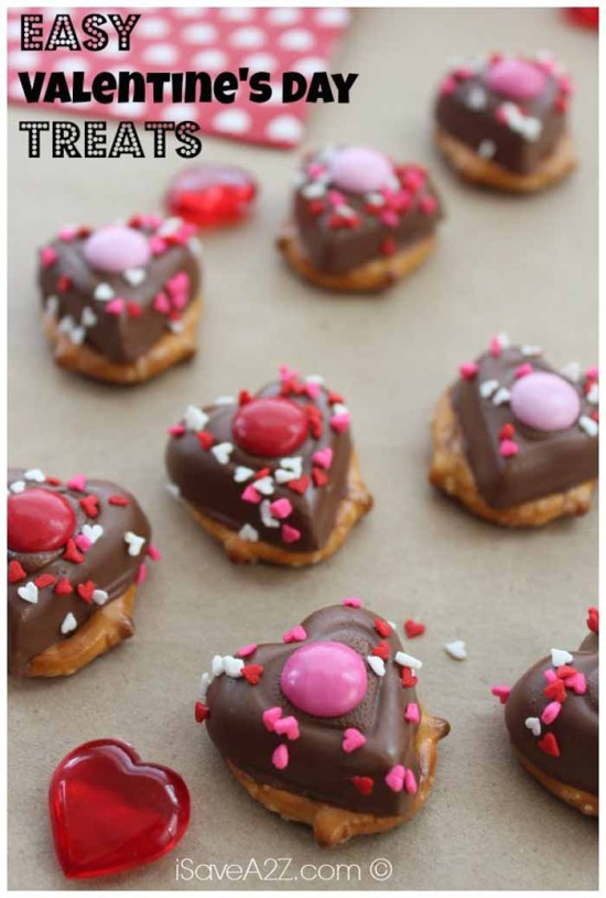 Heart Shaped Chocolate Treats: Pretzels with chocolate candies