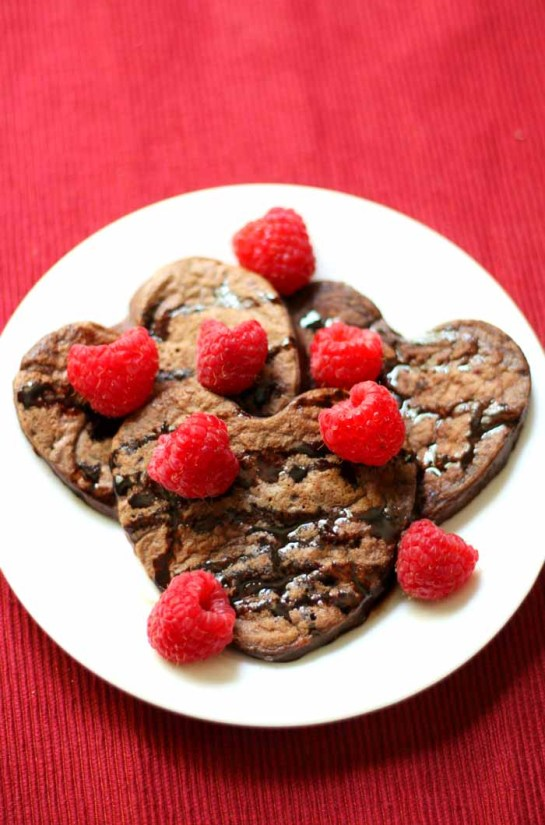 Heart Shaped Chocolate Raspberry Pancakes