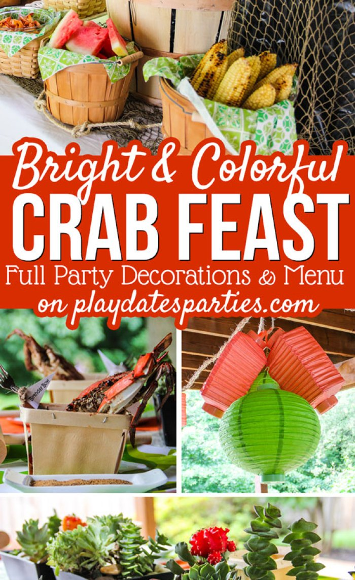 You've never seen a crab feast like this before. The traditionally messy meal gets a makeover with a green and orange color theme, nautical rope touches, natural woven baskets, succulents, and a lantern chandelier.