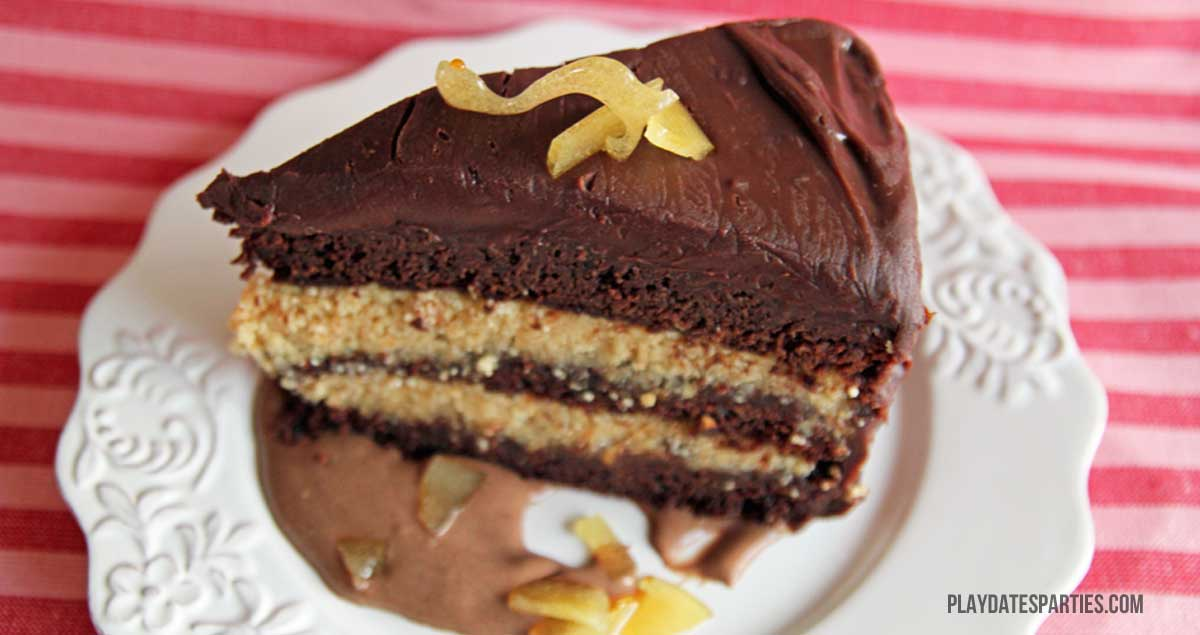 Looking for a break from your standard chocolate layer cake? Try this chocolate phantasmagoria cake, filled with hazelnut butter and layered with ganache.
