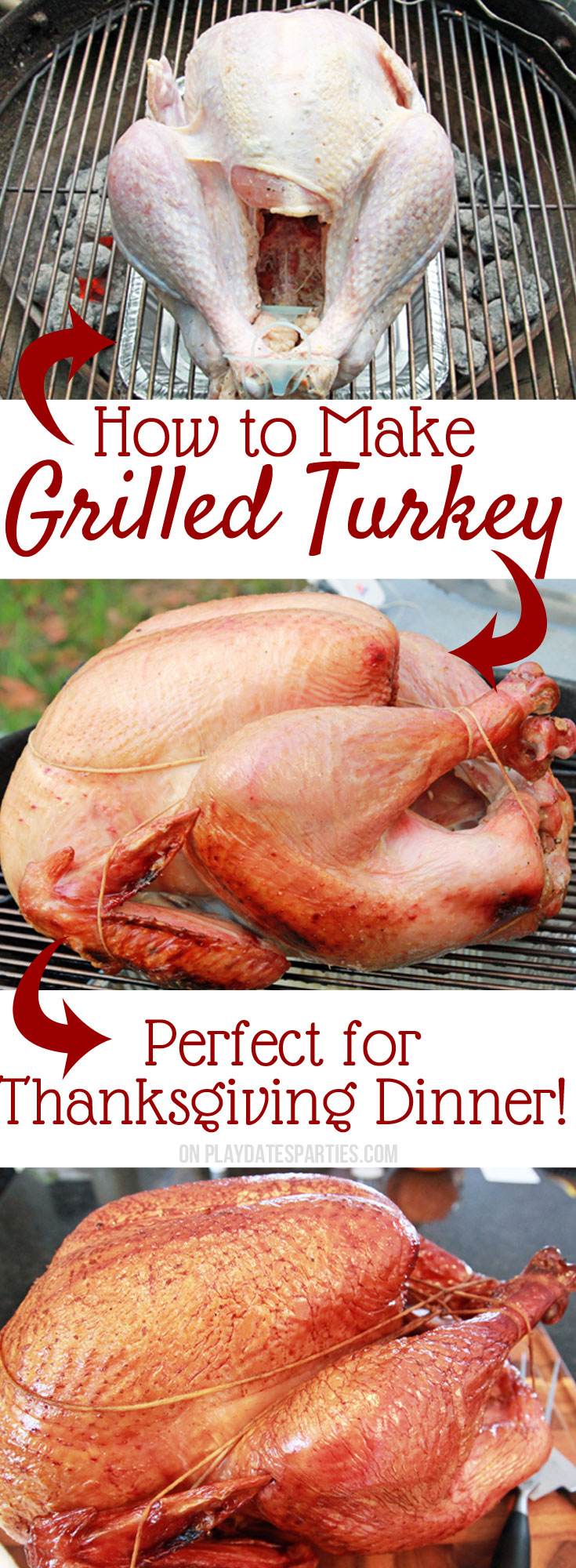 Grilled turkey for Thanksgiving dinner is the BEST! The smokey flavor is fantastic for your holiday dinner and amazing in leftovers. Find out how we cooked an 18-pound turkey on a charcoal grill, and freed up our oven for those delicious side dishes!